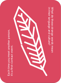 The back of a pink feather card for the Yes & No game. This pink card has two phrases on it that help guide play, and a large white stylized feather icon.